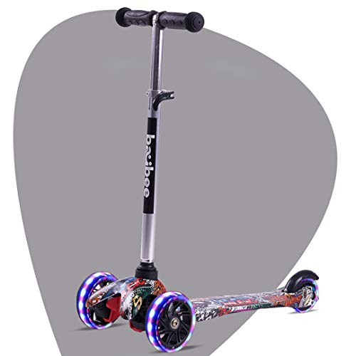Baybee Runner Skate Scooter for Kids Mini-Zapper 3 Wheel Folding Kick Kids Scooter Tricycle for Indoor & Outdoor Fun with 4 Adjustable Height Age 3-5 Years-Capacity 40kg