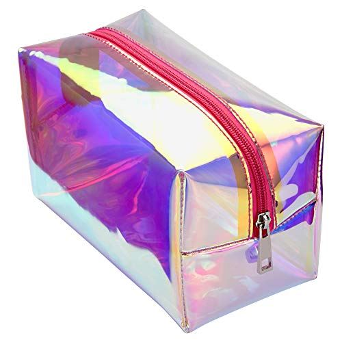 Holographic Makeup Bag, Cambond Clear Cosmetic Pouch Toiletry Organizer Cute Pencil Case Stationery Box, Gifts for College Girls Teens Women (Hologram Pink)