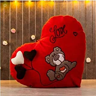 Frantic Huggable Heart Shape Soft Plush Stuffed Cushion Pillow Toy in Red Color