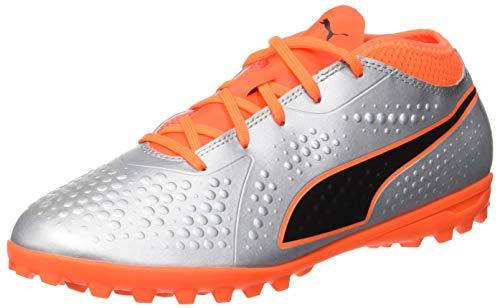 Puma Unisex-Kinder ONE 4 SYN TT JR Fußballschuhe, Silber Silver-Shocking Orange Black 01, 37 EU