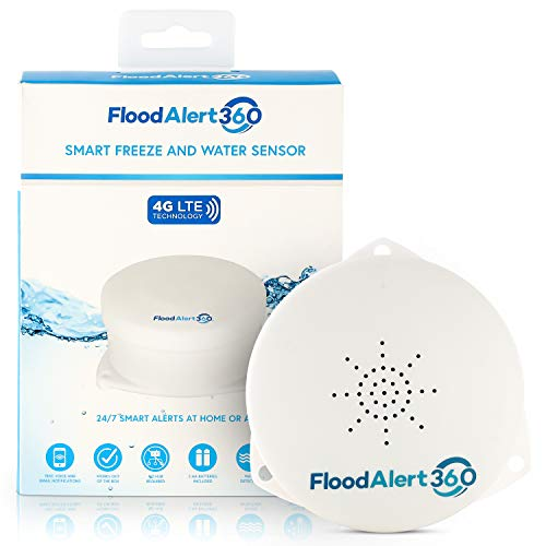 Flood Alert 360 Cellular Water Leak Sensor - NO Wi-Fi Needed | Text, Call & Email Notifications When Flood Detector Comes in Contact with Water Or...