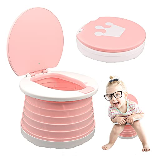 2-in-1 Portable Potty Trainer for Toddlers Foldable Travel Potty Training Seat Toilet for Toddlers...