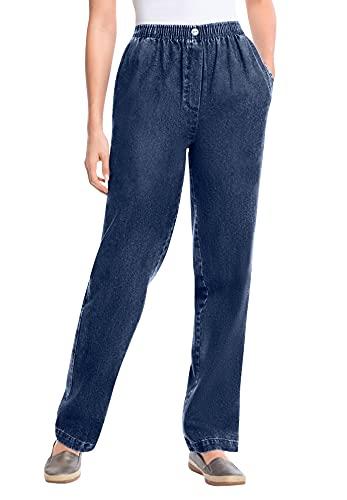 Woman Within Women's Plus Size Petite Elastic-Waist Cotton Straight Leg Pant - 20 WP, Indigo Gray