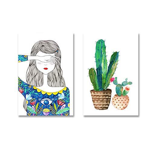 SDFSD Moderne kleine Mädchen Blumenkaktus Mädchen Raumdekor Leinwand Druck Gemälde Wandkunst Bilder POP Poster Kinderzimmer Home Decoration 50 * 70cm