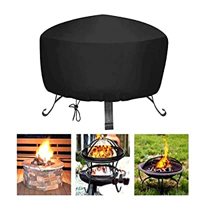 Hottly Fire Pit Cover for Fire Pit Size 22 inch - 34 inch, Heavy Duty Outdoor Round 420D Fire Pit Cover, Waterproof Dustproof Anti UV Oxford Cloth Outdoor Fireplace Cover (85 x 40 x 40)