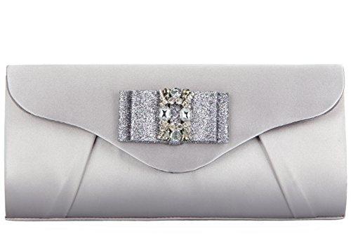 Grace Angel Damen Clutch Abendkleid Kristall Schleife Grau GA16677