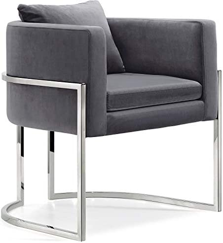Best Meridian Furniture 524Grey Pippa Collection Modern | Contemporary Velvet Upholstered Accent Chair wi