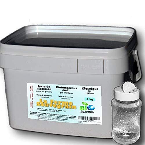Tierra de Diatomeas alimentaria para Gallinas - Protector natural contra el ácaro rojo - 4kg + dispensador ofrecido