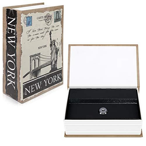 Navaris Caja fuerte con forma de libro - Caja de caudales escondida para guardar dinero joyas relojes - Con diseño de Nueva York y 2 llaves - S