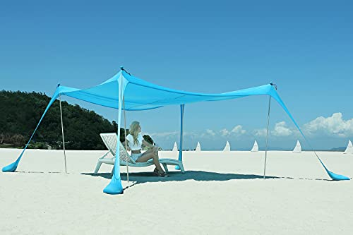 DIPUG Portable Beach Tent Canopy, Sun Shelter with UV Protection, Outdoor Shade with Sandbags, 4 Poles, Shovel and Anchors 7×7 FT, Sky Blue