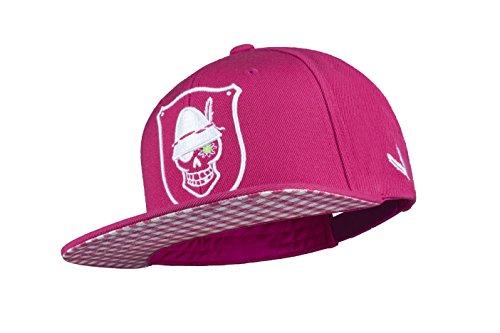 WIESNROCKER I WR1005-1, Snapback-Cap, Schild-Mütze in pink, 3D-Stick in weiss, stylisch mit vielen Details, hochwertig, größenverstellbar, unisex