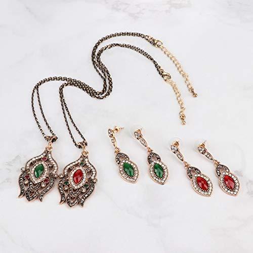 Yddxy Collar de Mujer Pendiente Colgante Vintage Boho Damas Cadena con Incrustaciones de Gemas Conjunto de Joyas de Cristal 2 Piezas (Pendiente + Collar),Verde