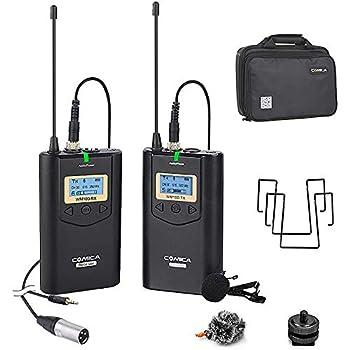 Wireless Microphone Comica CVM-WM100 UHF 48-Channel Professional Wireless Lavalier Lapel Microphone System for Canon Nikon Sony Panasonic DSLR Cameras,XLR Camcorder,Smartphone etc.
