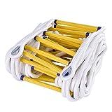 Outdoor-Klettern Luftarbeit rutschfeste Polyester-Strickleiter Mit 2 Haken, Notfall Feuerleiter - Einfach Zu Implementieren, Länge 16ft ~ 131 Ft (Size : 20m/66ft)