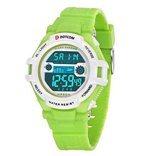Kinderuhren Jungen Mädchen Armbanduhr, Sieben Hintergrundbeleuchtung Farboptionen Digitaluhr Wasserdicht Schwimmen Outdoor Sportuhr für Kleine Kinder mit Mehreren Funktionen Weiß Grün
