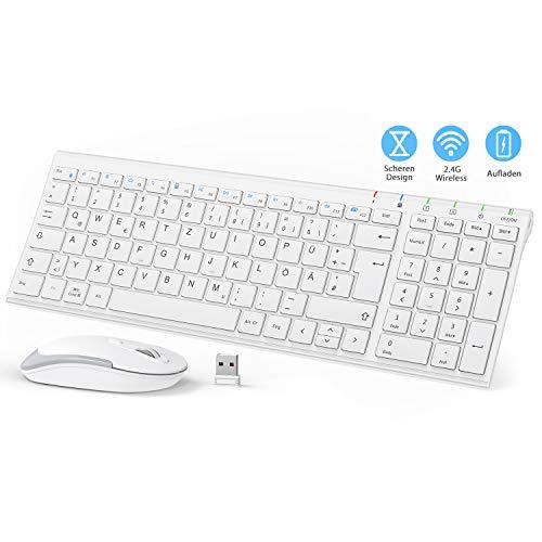 iClever GK03 Tastatur Und Maus Set Kabellos, 2.4G Slim Design Tastatur QWERTZ Layout (Deutsch), für Computer/Desktop/PC/Laptop/Oberfläsche und Windows 10/8/7 / Vista/XP, Weiß