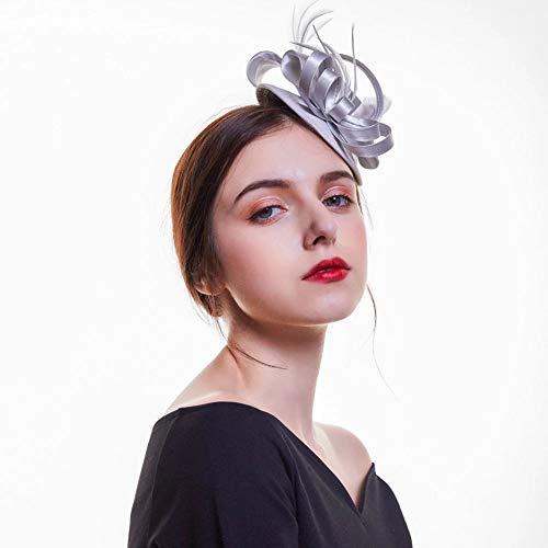 D&XQX Fashion Plumas satinados Fascinator Sombrero Pelo Clip de Pelo Cocktail Bodas...