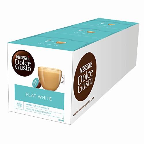 NESCAFÉ Dolce Gusto Flat White | 48 Kaffeekapseln | Arabica und Robusta Bohnen | Cremig-Milchiger Genuss | Kaffeekreation | Coffee-Shop Trend | Aromaversiegelte Kapseln (3 x 16 Kapseln)