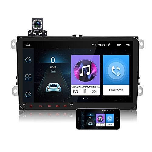 Autoradio 2 Din Android per Volkswagen VW Passat Polo Skoda Seat - 9 Pollici Touch Screen GPS Navigatore Satellitare Auto, Car Radio Supporta la Bluetooth Vivavoce, Wifi, Telecamera posteriore