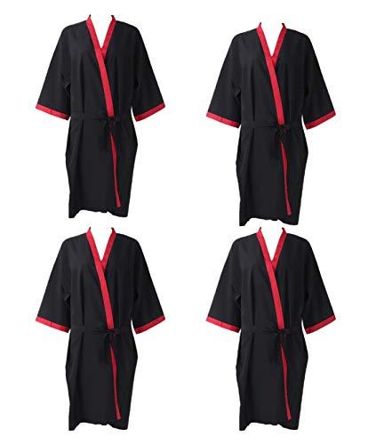 4 Unidades Kimonos Mujer Negro Bata para Peluquería o Salón de Belleza