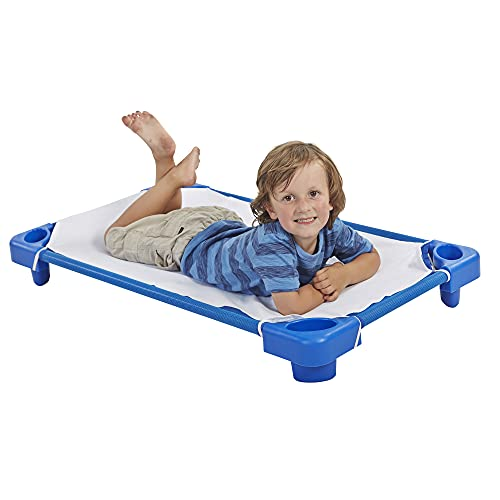 """ECR4Kids Toddler Naptime Cot with Sheets, Stackable Daycare Sleeping Cot for Kids, 40"""" L x 23"""" W, Ready-to-Assemble, Blue (Set of 6)"""