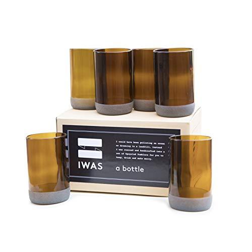 IWAS Vasos para Beber de Color castaño Rojizo Alto reciclados |350 ML |12 OZ |(Juego de 6) |Copas de cóctel recicladas Hechas a Mano sostenibles