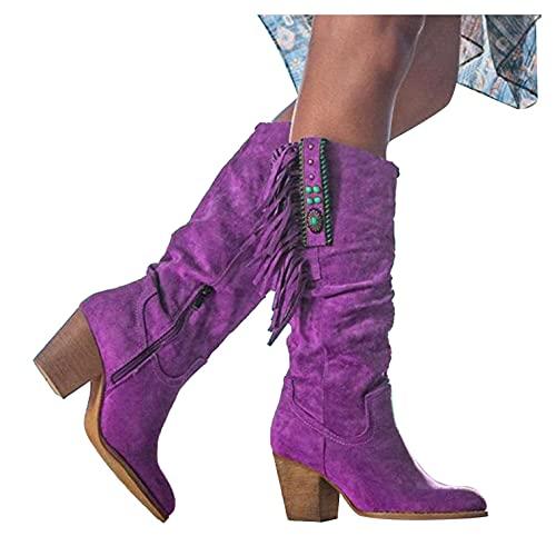WEIBM Botas hasta la rodilla holgadas para mujer, punta puntiaguda con cremallera lateral botas de tacón medio grueso