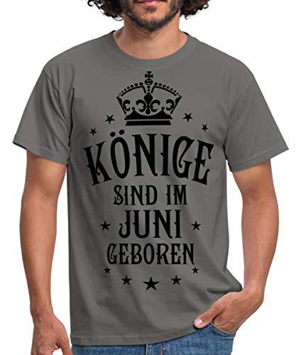 Spreadshirt Geburtstag Könige Im Juni Geboren Spruch Männer T-Shirt, S, Graphit