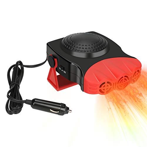 Achort Calentador de coche, 200 W, 12 V, encendedor de cigarrillos, portátil, calentador automático, ventilador 2 en 1, calefacción/refrigeración, calentadores portátiles para coche, parabrisas (rojo)