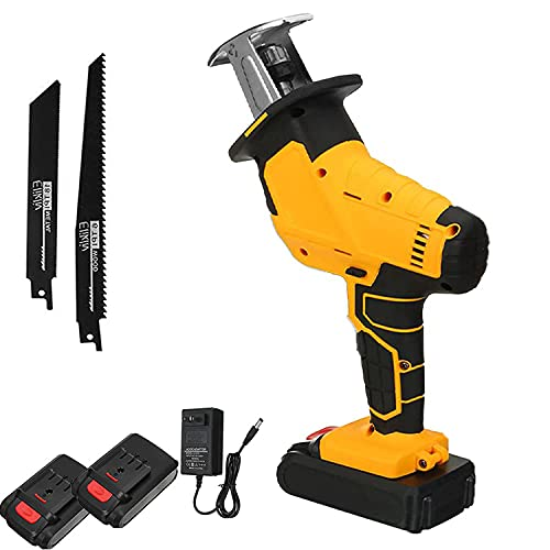 48V cordless reciprocating saw, reciprocating saw for wood and metal cutting, powerful light reciprocating saw, battery-powered compact saw with battery, charger and blade,2 batteries