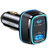 120W USB C Car Fast Charger - Dual Ports PPS PD 100W Type C Super Fast Charging + QC3.0 20W Cigarette Lighter USB Adapter for Laptop Tablet MacBook iPad iPhone Android Switch Pixel