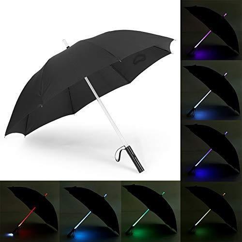 Jacksking LED-Regenschirm, Batteriebetriebene 7-farbige LED-Regenschirm-Taschenlampe für sicheres nächtliches Gehen(#1)