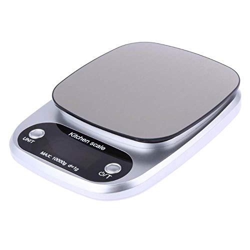 YOUZHA 10000g / 1g mini digitale keukenweegschaal dieetweegschaal LED keukenweegschaal elektronische kookweegschaal precisiegereedschap Zilver.