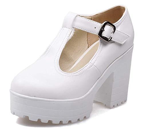 MURSFANDS Damen Elegant T-Strap Mary Jane Schuhe High Platforms Buckle Lolita Cosplay Kleid Pumps Größe 2-8, Weiß - weiß - Größe: 36 EU