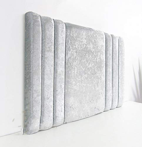 Fur Home Super Padded Sidebar 20' or 28' Tall Crushed Velvet Headboard Available In Single, Small Double, Double, King, Super King (Silver, Single 3ft (20' Tall))