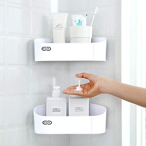 2 Pack ABS Corner Shower Caddy, Wall Mounted Removable Bathroom Basket Organizer Shelf for Shampoo, Conditioner, Waterproof Kitchen Bath Bedroom Organizer Rack, No-Drilling