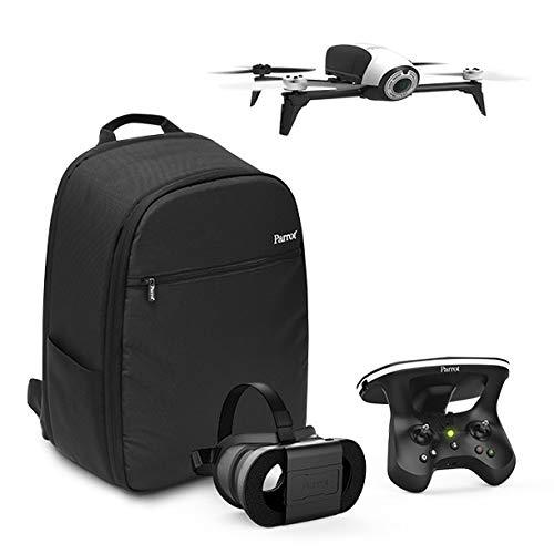 Parrot Bebop 2 - Dron cuadricóptero (Full HD 1080P, 14 Mpx, 60 Km/h, 25 minutos de vuelo, 8GB, 2 Km de Alcance, 500 gr), color blanco y negro