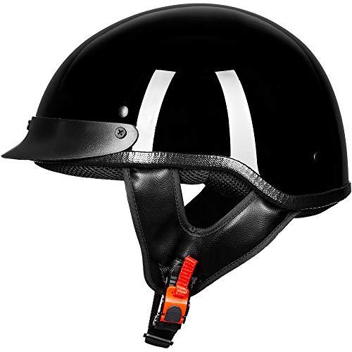 ILM Motorcycle Half Face Helmet DOT Approved Bike Cruiser ATV (Gloss Black, XL)