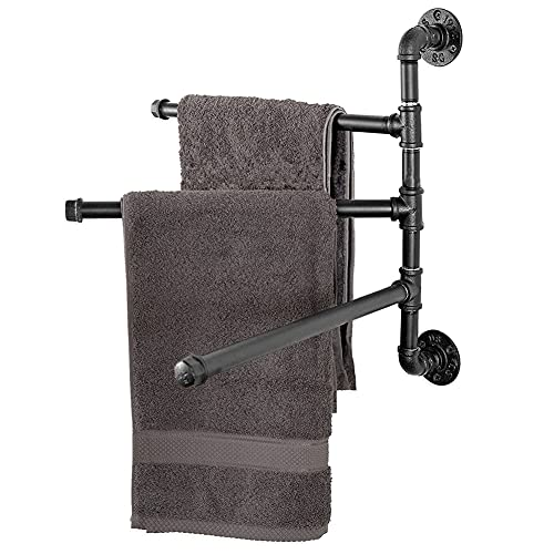 Toallero giratorio montado en la pared con 3 barras giratorias, para cocina, baño, inodoro