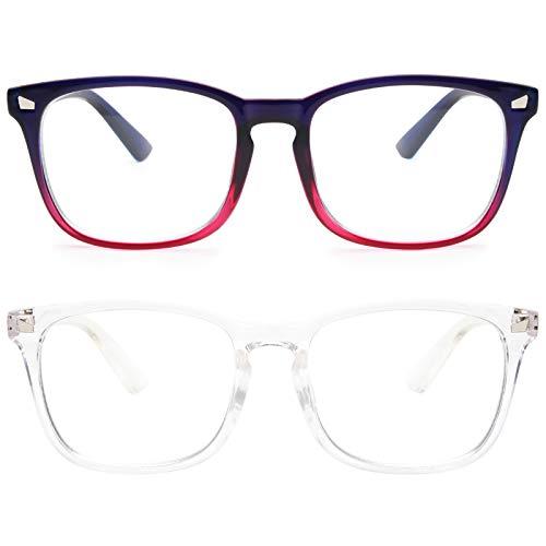 livho 2 Pack Blue Light Blocking Glasses, Computer Reading/Gaming/TV/Phones Glasses for Women Men,Anti Eyestrain & UV Glare (Clear+Blue Purple)