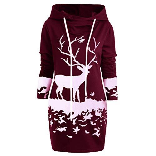 VEMOW Weihnachten Mini Pullover Kleid Damen Frauen Casual Daily Party Freizeit Kordelzug Monochrom Rentier Gedruckt Kapuzenkleid(Weinrot, 38 DE/M CN)
