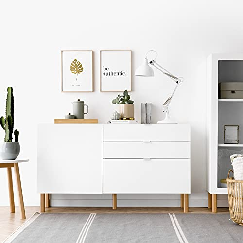 Kenay Home-Aparador Salón Comedor Recibidor Blanco 140cm Suri, 140x40,3x81cm (WxDxH)