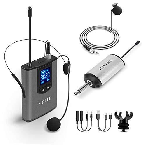 """Hotec Wireless UHF Headset-Funkmikrofon Lavalier Ansteckmikrofon mit Bodypack-Sender und Mini Tragbarem Empfänger 1/4\"""" Ausgang, Geeignet für Live-Performance, Kompatible mit Handy"""