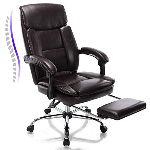 Rimiking Big and Tall Reclining Leather Office Chair Metal Base High Back Executive Computer Desk Chair with Adjustable Lumbar Support Angle Recline Locking System and Footrest Brown