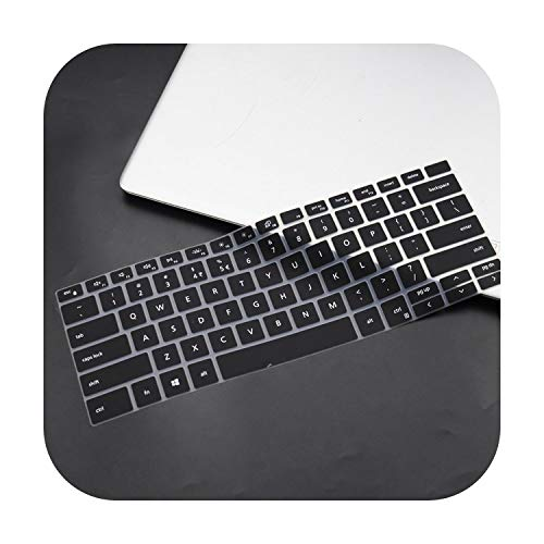 Silicone Laptop Keyboard Cover for Dell Xps 13 9300 7390 2020 / Xps 15 9500 2020 / Xps 17 9700 2020-Black-