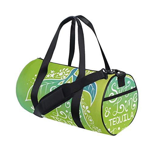 ZOMOY Sporttasche,Grüntöne Lebendige Ombre Design Salz Kalk Tequila Schriftzug gedeihen Zitrone,Neue Bedruckte Eimer Sporttasche Fitness Taschen Reisetasche Gepäck Leinwand Handtasche