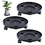 13 Inch Plant Caddies with 3 Wheels,Round Flower Pot Mover,Indoor Rolling Planter Dolly on Wheels,Outdoor Planter Trolley Tray Coaster, Black 3 Pack