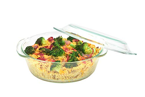 Moss & Stone 3 Glass Casserole Dish With Lid Made By Borosilicate Glass Material 4.5mm To 5mm Thick Set Of 3 Deep Dish Heat/Cold Microwave Oven Freezer & Dishwasher Safe Reusable Clear Turquoise Glass