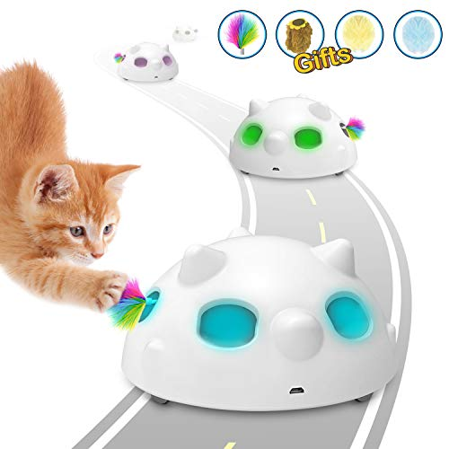 PETRIP Interactive Cat Toy,Low Noise Electronic Cat Toys with 900Mah Rechargeable Battery &3 Speed Sport Model,Random Moving Feather Robotic Cat Toy for Indoor Cats(4 Accessories) (Normal)