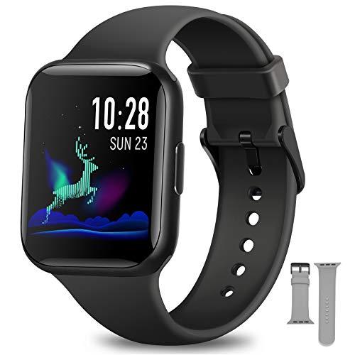 NAIXUES Smartwatch, Reloj Inteligente IP68 con Pantalla Táctil de 1.54'', Monitor de Sueño Pulsómetro Podómetro Cronómetros, Reloj Deportivo para Hombre Mujer Niños con Android iOS (Negro)